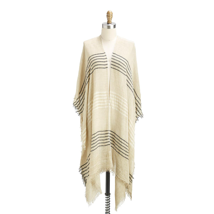 Embroidered Stripe Kimono w Eyelash Fringe Assorted 2 Colors
