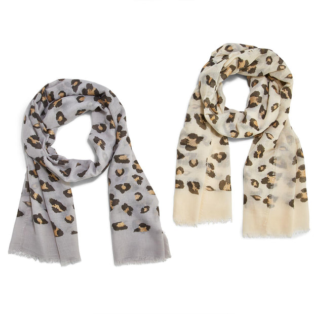 Leopard Print Scarf with Gold Glitter Spots