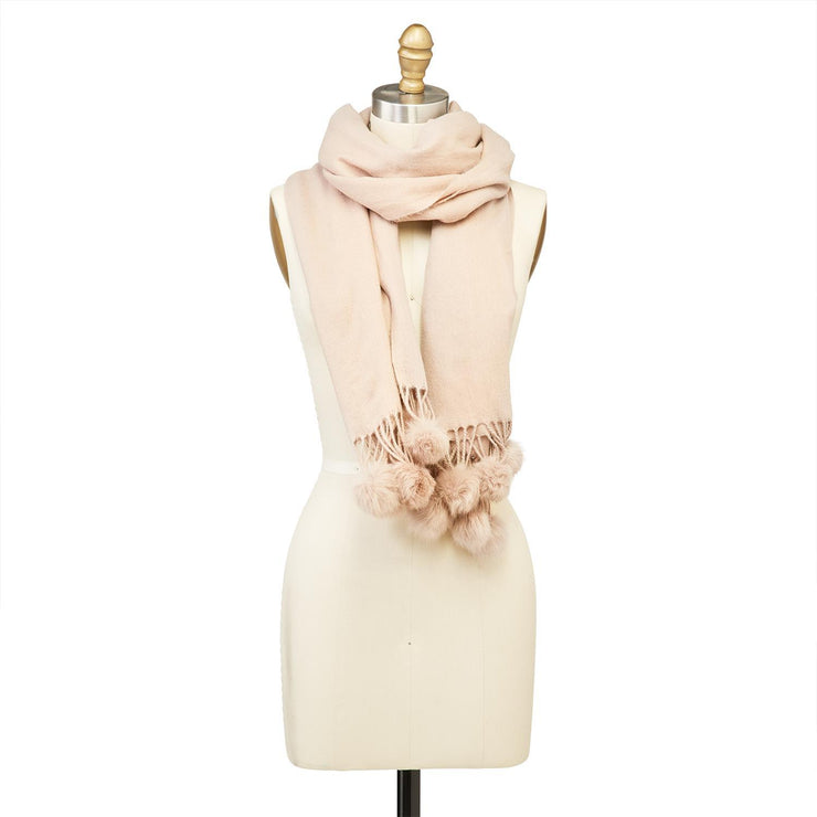 Cashmere-Like Scarf with Tassels and Fur Pom Poms