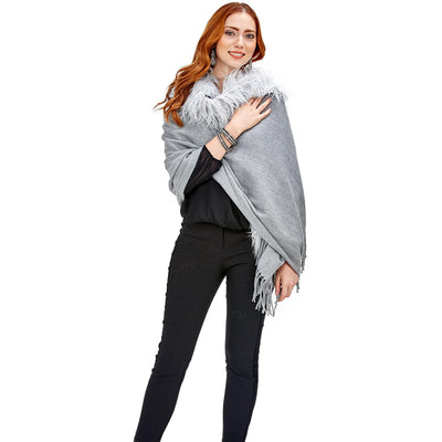 Faux Fir Trimmed Cape with Tassel