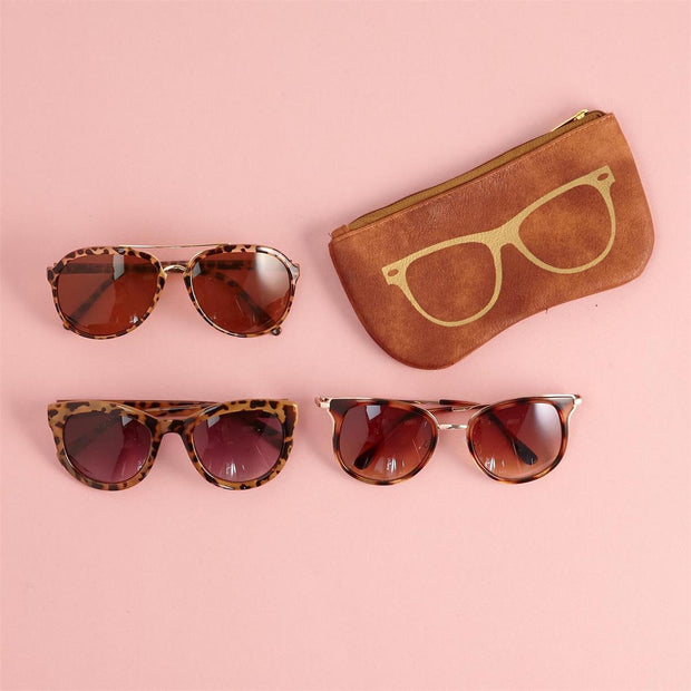 Tortoise Frame Sunglasses w Pouch