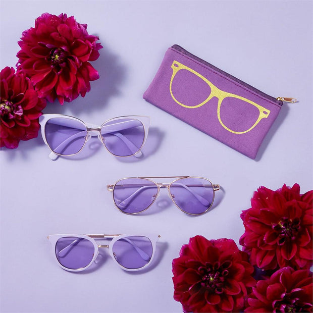Lilac Gold Sunglasses w Pouch (Assorted)