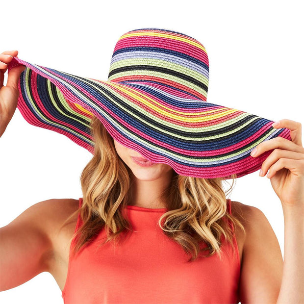 Multicolored Straw Floppy Hat