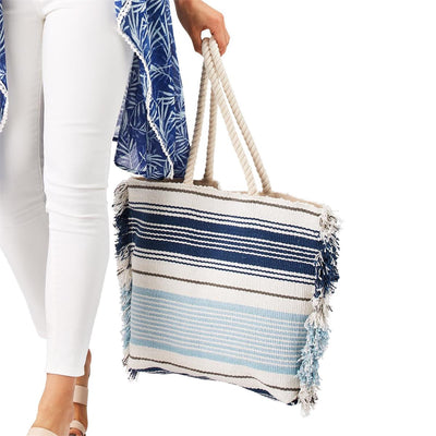 Striped Tote with Rope Handles