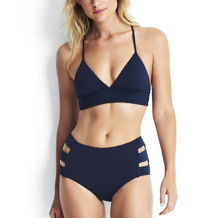 Solid Quilted High Waisted Bikini Bottom