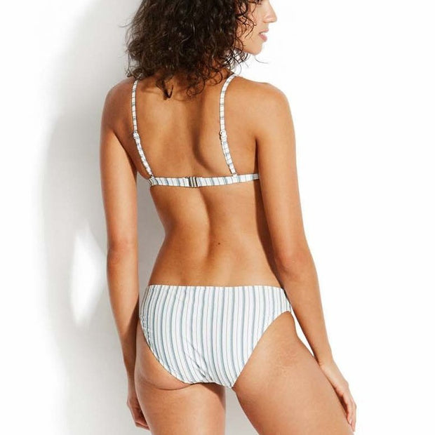 Sea Stripe Fixed Longline Tri Bikini Top