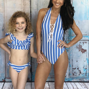 Stripe Laced Front Halter One Piece