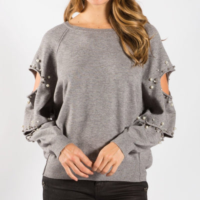 Faux Pearl Cutout Sleeve Sweater