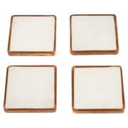 Metal Trim Marble Coaster Set