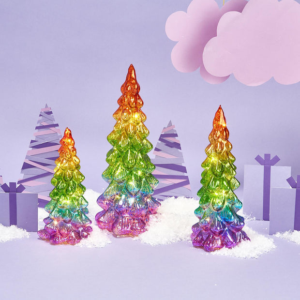 Set of 3 Rainbow Christmas Trees