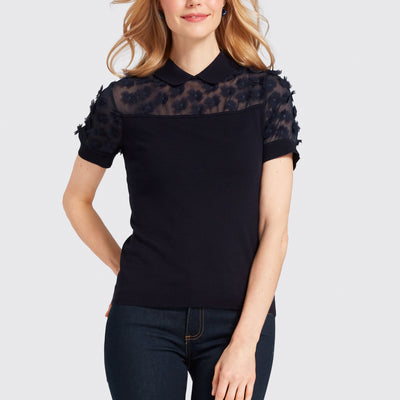 Collared Fleurette Sweater
