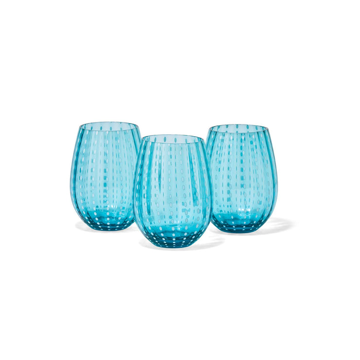 Aqua Blue Stemless Wine Glass
