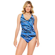 Jungle Motion V Neck Cross Back Mio One Piece