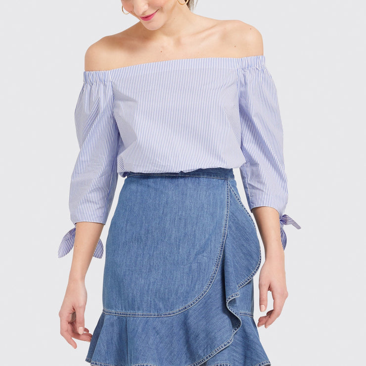 Blue Stripe Lennox Off the Shoulder Top