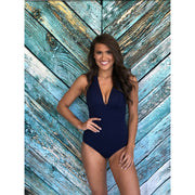 Navy Geo Eyelet Halter One Piece