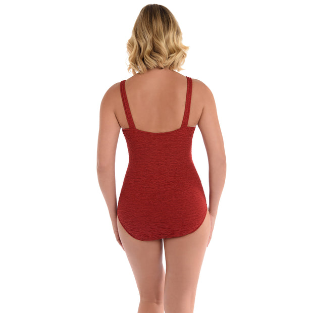 Krinkle Square Neck One Piece Swimsuit