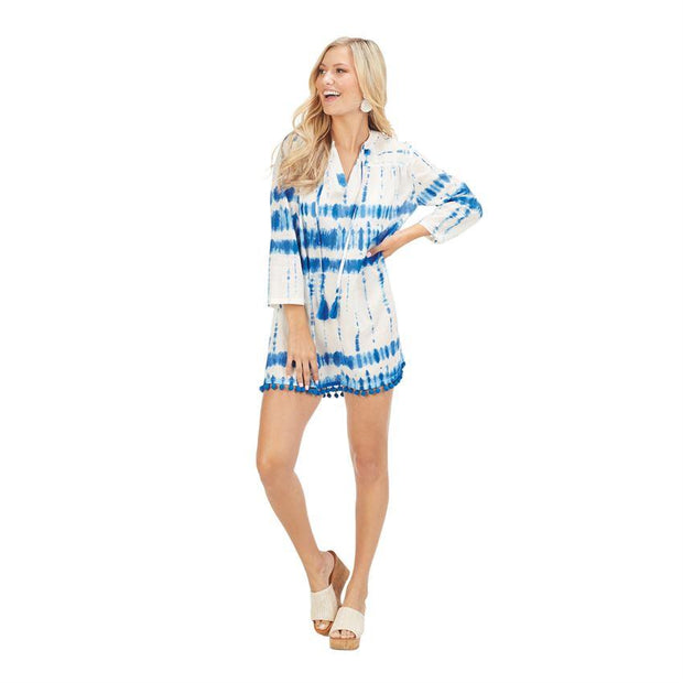 Blue Tie Dye Lacey Pom Pom Cover Up