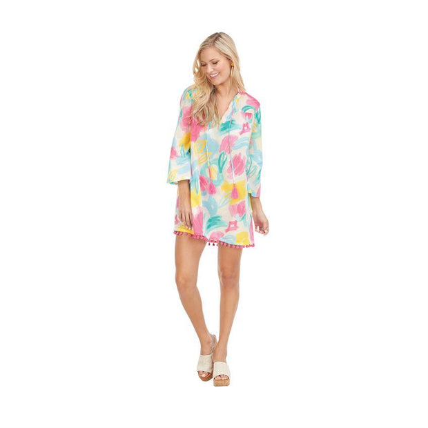Painterly Pastel Lacey Pom Pom Cover Up