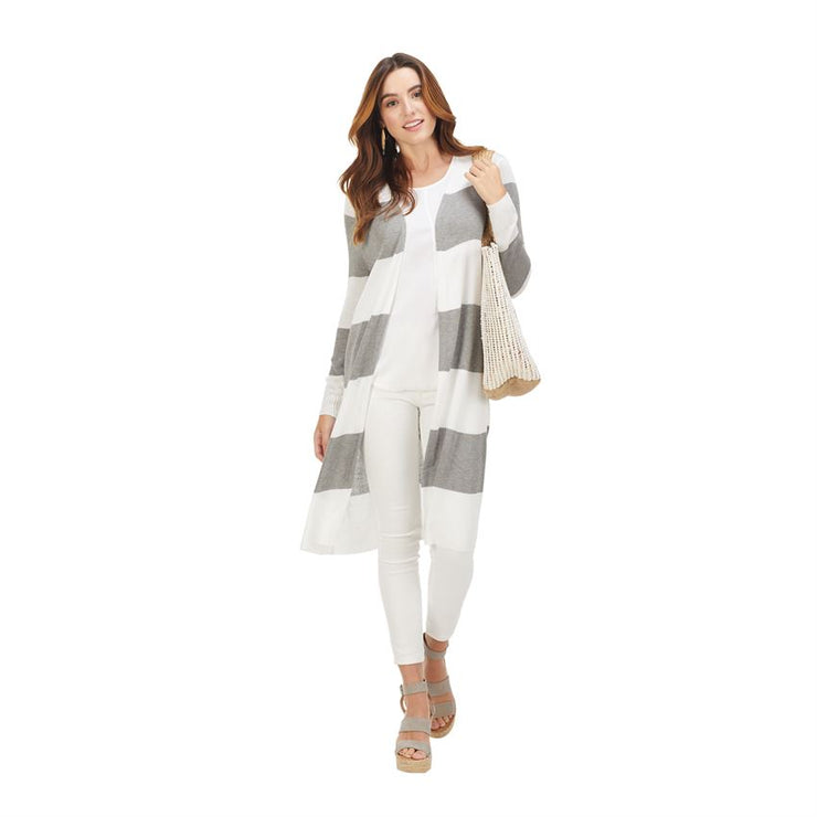 Gray Vince Striped Cardigan
