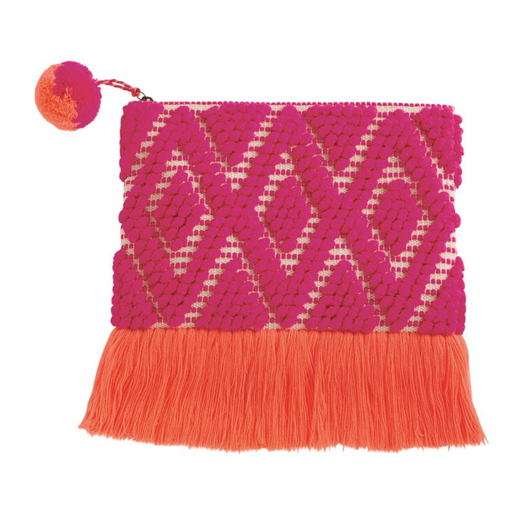 HAND-LOOMED WOVEN FRINGE CLUTCH