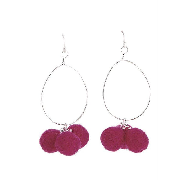Pom Pom Hoop Earrings