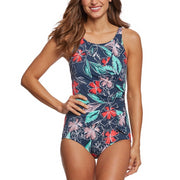 Floral Sketch High Neck One Piece