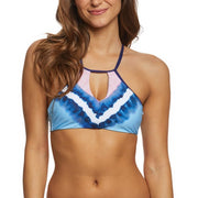 Tie Dye Stripe High Neck Bikini Top