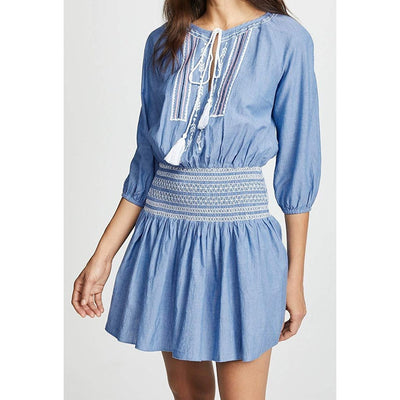 Embroidered Smocked Waist Dress