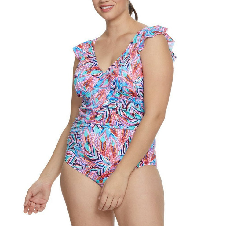 Tropical Punch Plus Size V-Neck Flounce Shoulder Mio One Piece
