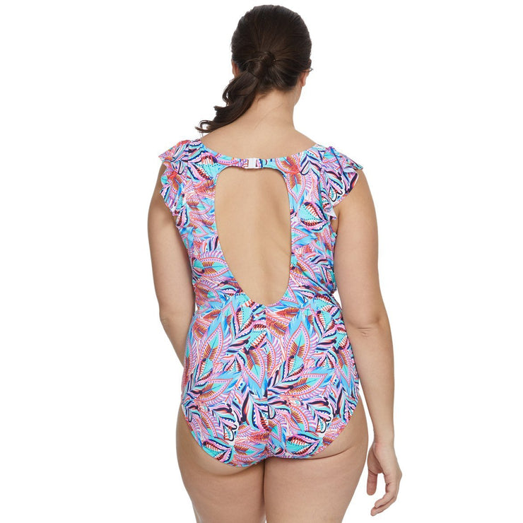 Tropical Punch Plus Size V-Neck Ruffle Shoulder Mio One Piece