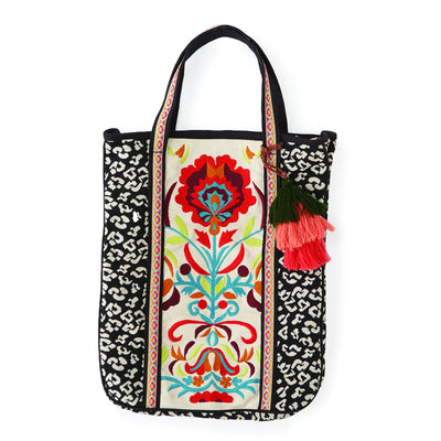 Embroidered Leopard Tote Bag