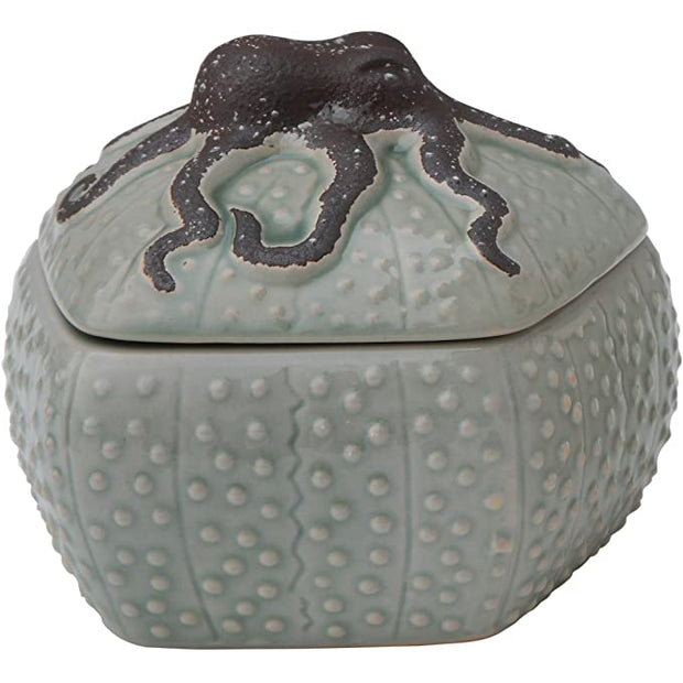 Decorative Stoneware Box with Octopus Lid