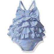 Seersucker Ruffle Bow Swimsuit