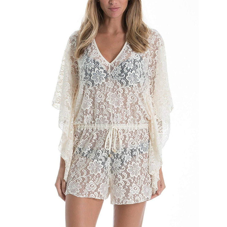 Butterfly Sleeve Romper Cover Up