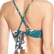 Floral Double Ring Long Line Tri Bikini Top