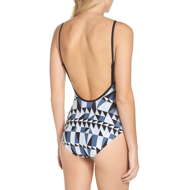 Jagged Geo Deep V Maillot One Piece