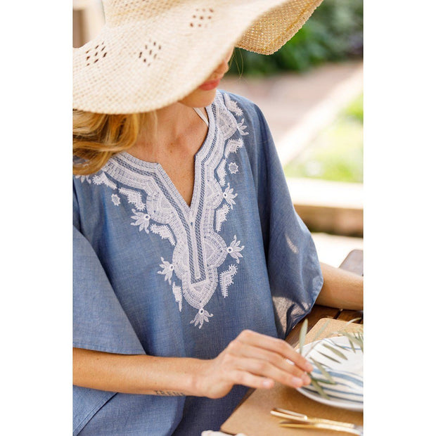 Kaminia Blue Embroidered Kaftan/Beach Cover Up