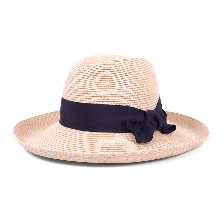 Natural with Navy Bow Adriana Physician Endorsed Hat