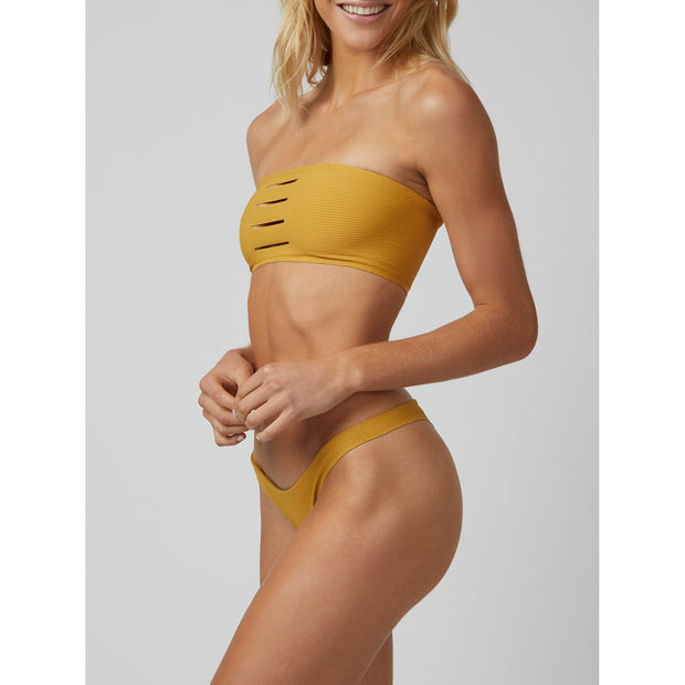 armed amber cut it out caroline bandeau bikini top yellow