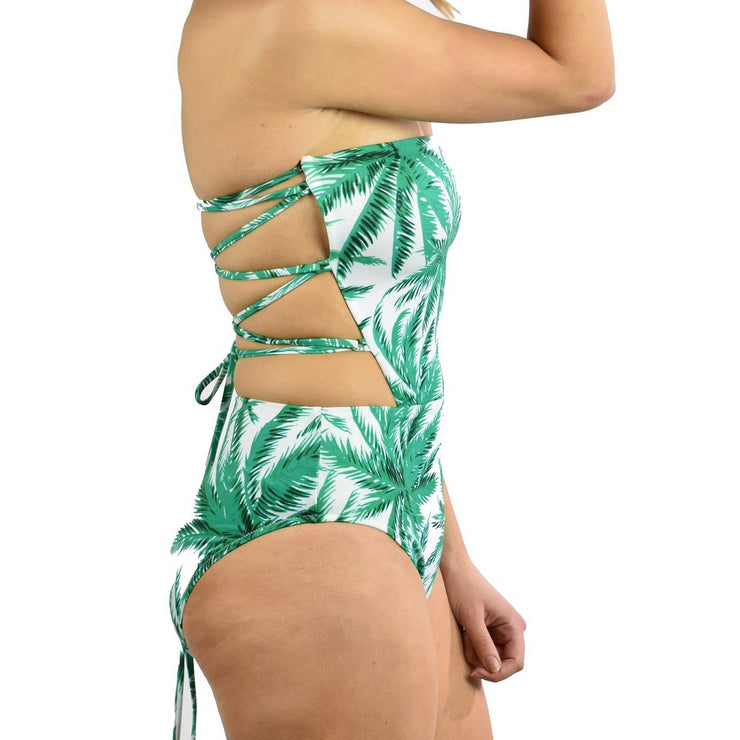 Palm Trees Apron Tie Back One Piece