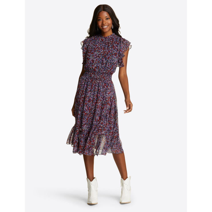 Wispy Floral Kacey Smocked Waist Faux Wrap Dress