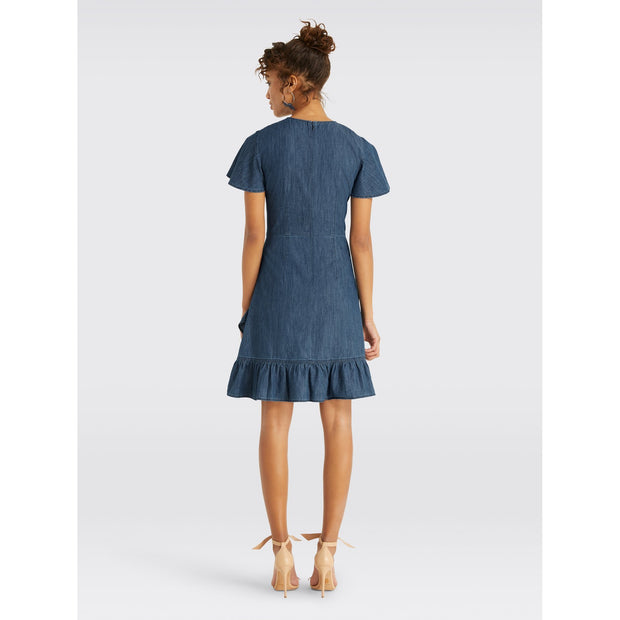 Chambray Faux Wrap Dress