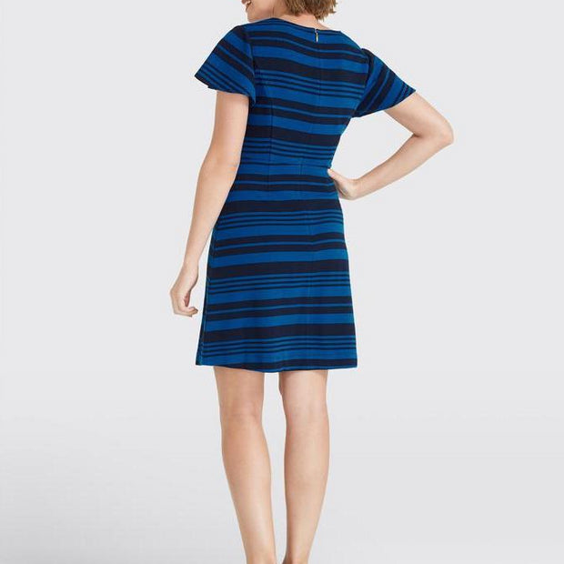 Stripe Flutter Sleeve Dress