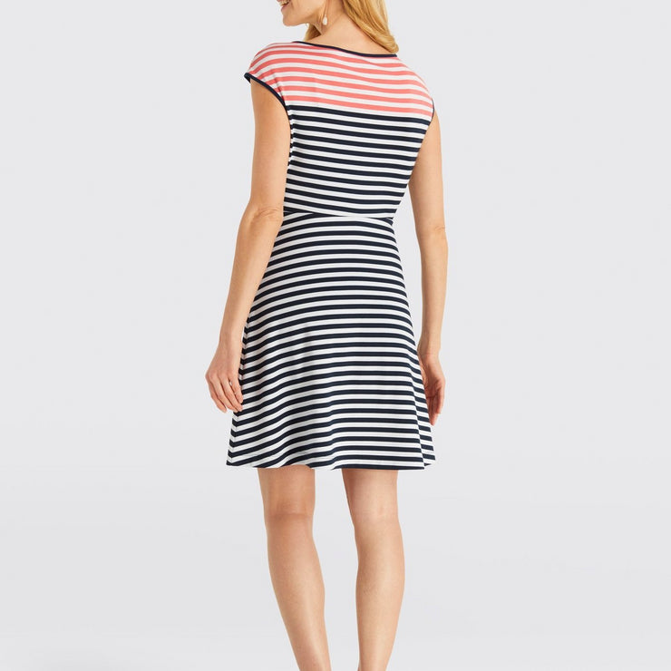Stripe Ponte A-Line Dress