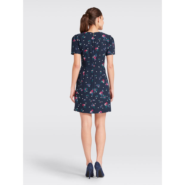 Bouquet Dot Floral Structured Sleeve Dress