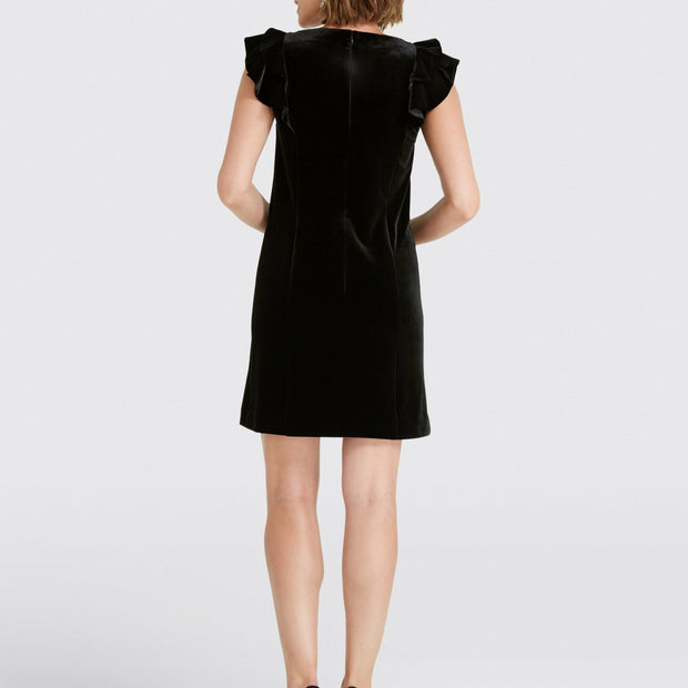 Velvet Ruffle Shoulder Dress