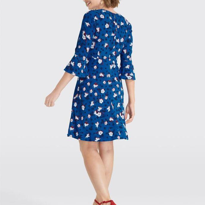 Floral A-Line Bell Sleeve Dress