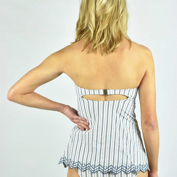 Sea Stripe C/D Bandeau Singlet Tankini Top