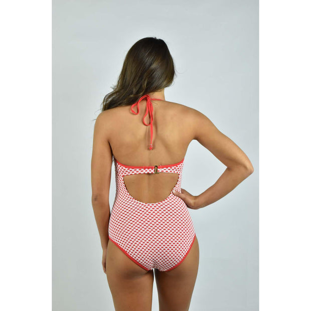 Dot Jacquard Bra Halter One Piece