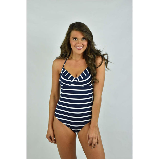 Marine Stripe Underwire One Piece